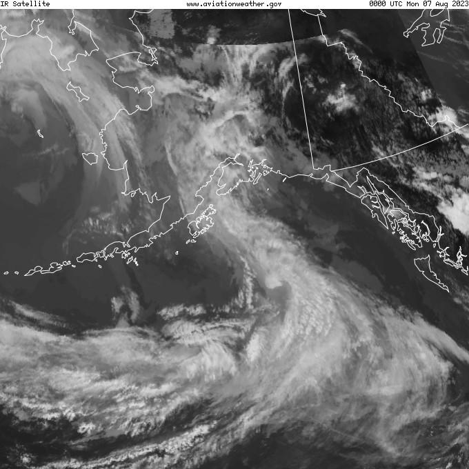 GOES - infračervené - Aljaška
