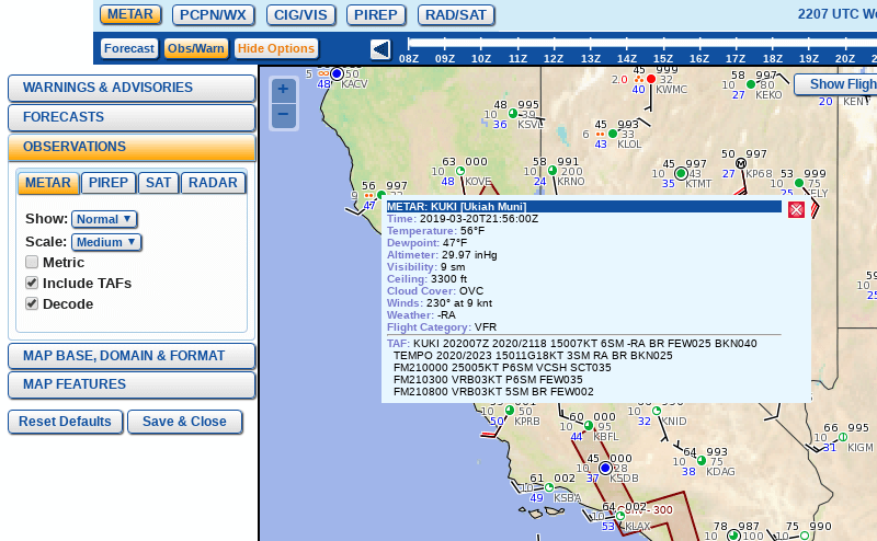 GFA Observation Menu - METAR Tab